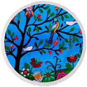 Round Beach Towel featuring the painting Optimism by Pristine Cartera Turkus