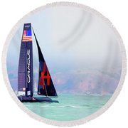 Oracles Usa  America's Cup Paint  Round Beach Towel