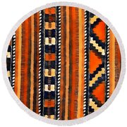 Orange Abstact Pattern Lines And Stripes Round Beach Towel