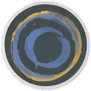 Orange And Blue1 Round Beach Towel