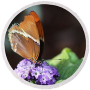Orange And Brown Butterfly On Purple Round Beach Towel