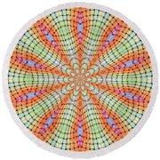 Round Beach Towel featuring the digital art Orange And Green by Elizabeth Lock