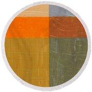 Orange And Grey Round Beach Towel by Michelle Calkins