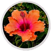 Orange And Pink Hibiscus 2 Round Beach Towel