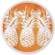 Orange And White Pineapples- Art By Linda Woods Round Beach Towel by Linda Woods