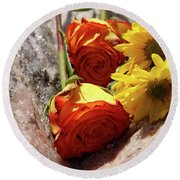 Orange And Yellow On Pink Granite Round Beach Towel