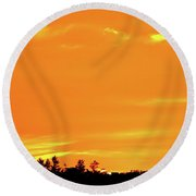 Orange And Yellow Sky  Round Beach Towel by Lyle Crump