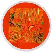 Orange Art Round Beach Towel by Colette V Hera Guggenheim