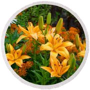 Round Beach Towel featuring the photograph Orange Asiatic Lilies And Butterfly Weed by Kathryn Meyer