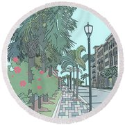 Orange Avenue Round Beach Towel