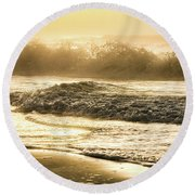 Round Beach Towel featuring the photograph Orange Beach Sunrise With Wave by John McGraw
