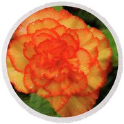 Orange Begonia Round Beach Towel