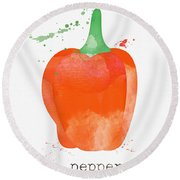Orange Bell Pepper  Round Beach Towel