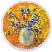 Orange, Blue, And Gold Sparkling Bouquet Round Beach Towel