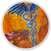 Orange Blue Purple Medical Caduceus Thats Atmospheric And Rising With Mystery Round Beach Towel by M Zimmerman