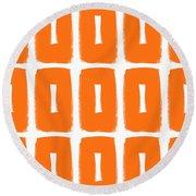 Orange Boxes- Art By Linda Woods Round Beach Towel