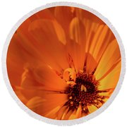 Orange Burst Round Beach Towel
