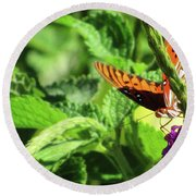 Orange Butterfly Green Leaves Round Beach Towel