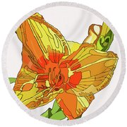 Orange Canna Lily Round Beach Towel
