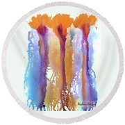 Orange Carnations Round Beach Towel