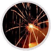 Orange Chetola Fireworks Round Beach Towel