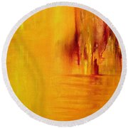 Orange Round Beach Towel by Claire Bull
