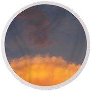 Orange Cloud With Grey Puffs Round Beach Towel