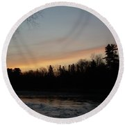Orange Clouds Mississippi River Dawn Round Beach Towel by Kent Lorentzen