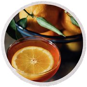 Orange Cocktail Round Beach Towel by Happy Home Artistry