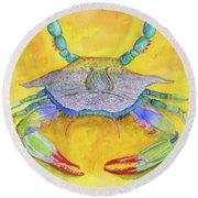Orange Crab Round Beach Towel
