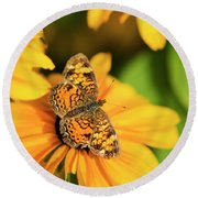 Round Beach Towel featuring the photograph Orange Crescent Butterfly by Christina Rollo