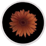 Orange Daisy Front Round Beach Towel