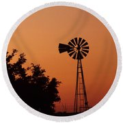 Orange Dawn With Windmill Round Beach Towel
