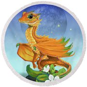 Orange Dragon Round Beach Towel by Stanley Morrison