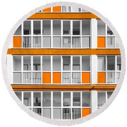 Orange Exterior Decoration Details Of Modern Flats Round Beach Towel