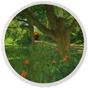 Orange Flowers Round Beach Towel by Lewis Mann