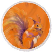Orange Forest Squirrel Round Beach Towel