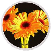 Orange Gerbera's Round Beach Towel by Scott Carruthers