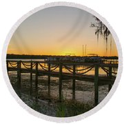 Florida - St Johns River Sunset Round Beach Towel by John Black