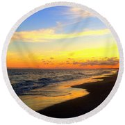 Orange Glow Sunset Round Beach Towel
