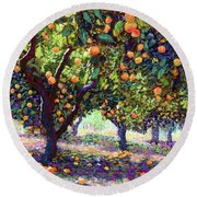 Orange Grove Of Citrus Fruit Trees Round Beach Towel