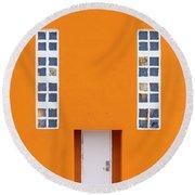 Orange Happy Round Beach Towel