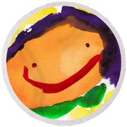 Orange Happy Face Round Beach Towel