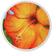 Orange Hibiscus Flower Round Beach Towel