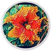 Orange Hibiscus In Crepe - Full View Round Beach Towel