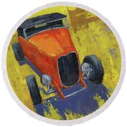 Orange Hot Rod Roadster Round Beach Towel