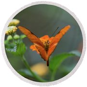 Orange Is The New Butterfly Round Beach Towel