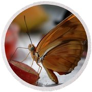 Orange Julia Butterfly Round Beach Towel