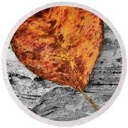 Orange Leaf Round Beach Towel