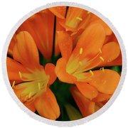 Orange Lilies No. 1-1 Round Beach Towel